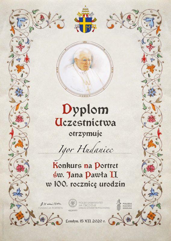dyplom_uczestnictwo Igor Hudaniec