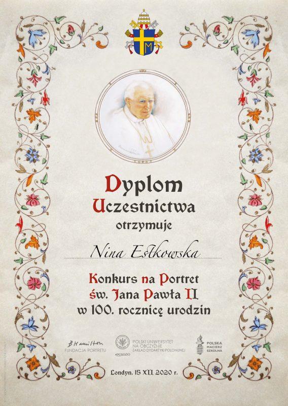 dyplom_uczestnictwo Nina Estkowska